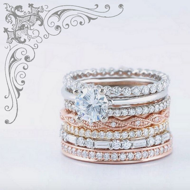 Style 123086 Diamontrigue Jewelry: 14k White, Rose, And Yellow Gold Stackable Wedding Bands