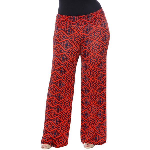 White Mark Orange & Navy Geo Palazzo Pants ($20) ❤ liked on Polyvore featuring pants, plus size, flare pants, palazzo pants, navy pants, plus size pants and loose pants