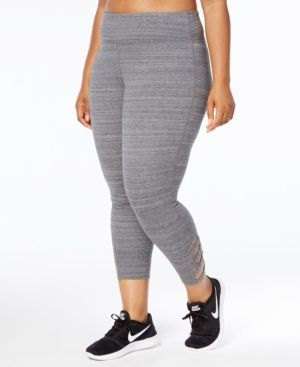 bbedc3558708ef Ideology Plus Size Cropped Cutout Leggings, Created for Macy's - Gray 2X