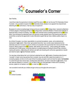 School Counselor Introduction Letter To Families  Counseling