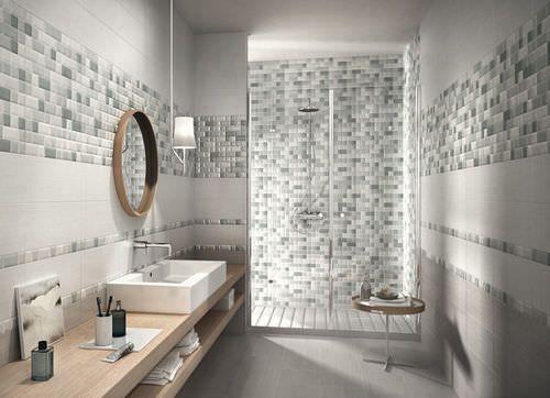 Piastrella a parete in ceramica da bagno aspetto mosaico