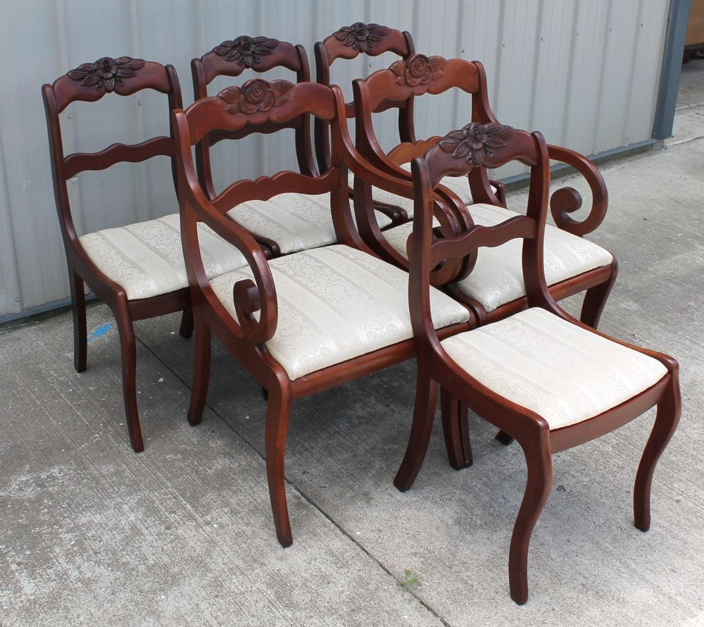 6 WILLET ROSEBACK SOLID CHERRY EMPIRE DUNCAN PHYFE DINING ROOM CHAIRS EMPIREDUNCANPHYFE