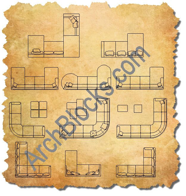 AutoCAD Sectionals Furniture CAD Blocks floor p lan