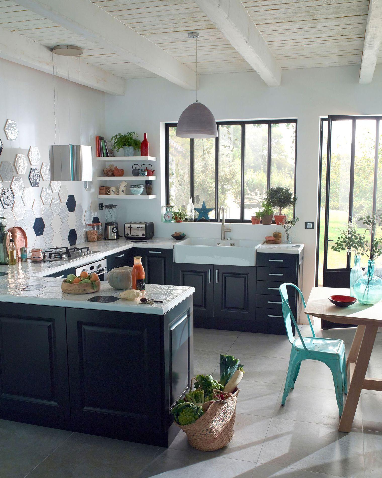 Carrelage Cuisine Des Modèles Tendance Pour La Cuisine - Carrelage hexagonal cuisine pour idees de deco de cuisine