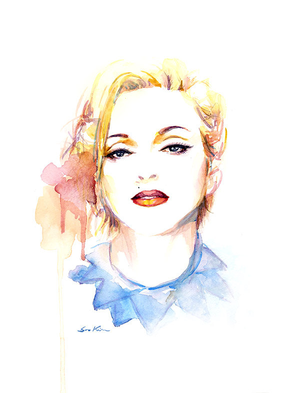 Madonna Pop Icon Watercolor Portrait Painting Print Vogue
