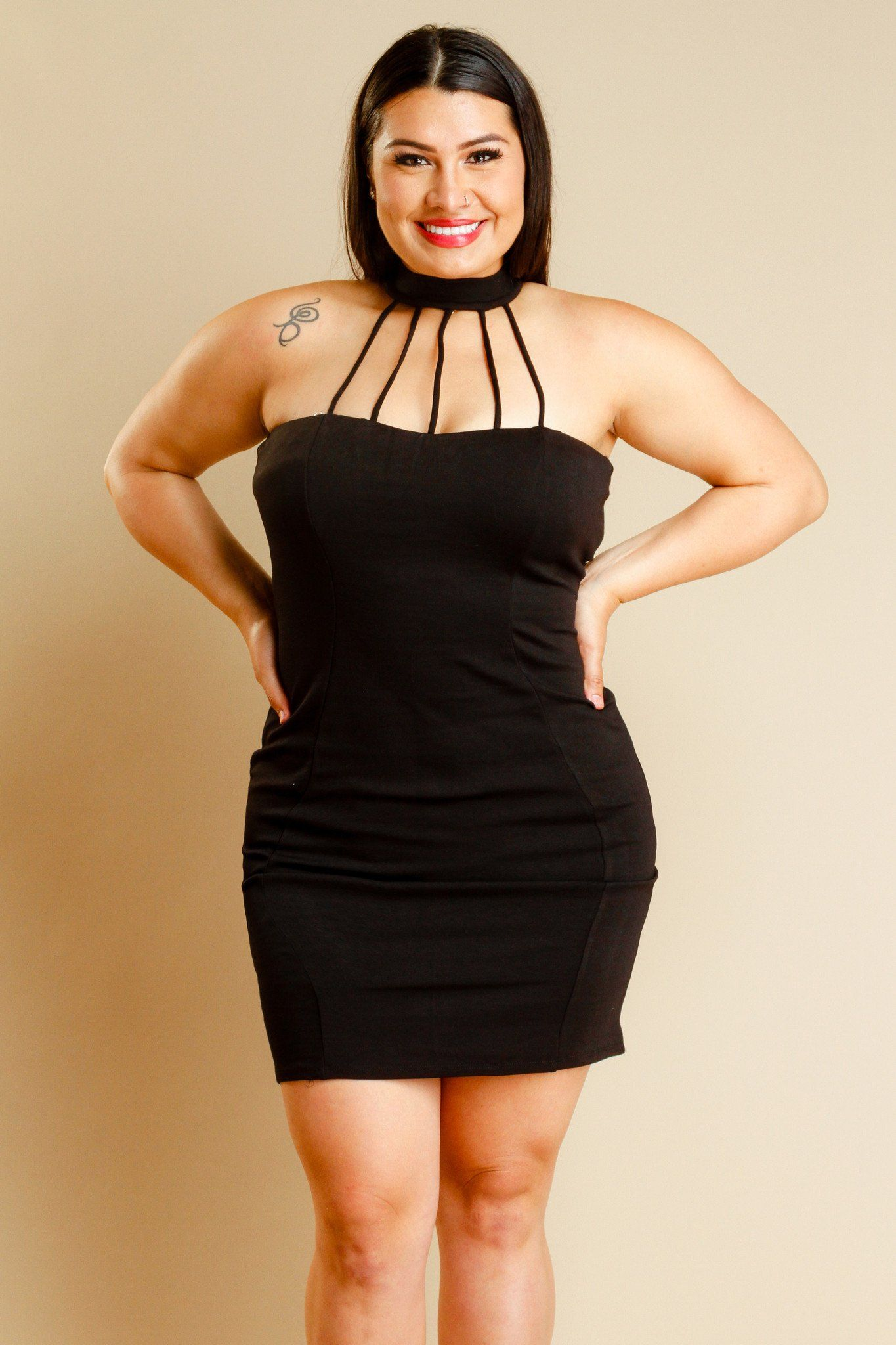 Plus Size Sexy Caged Detail Tube Dress Tube Dress Choker And Classy