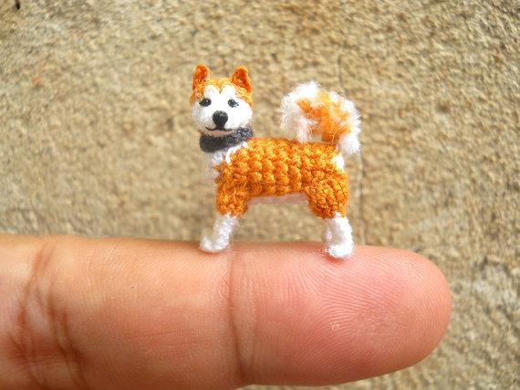 Amigurumi Flower Tutorial : Miniature akita tiny crochet mini amigurumi dog stuff animal