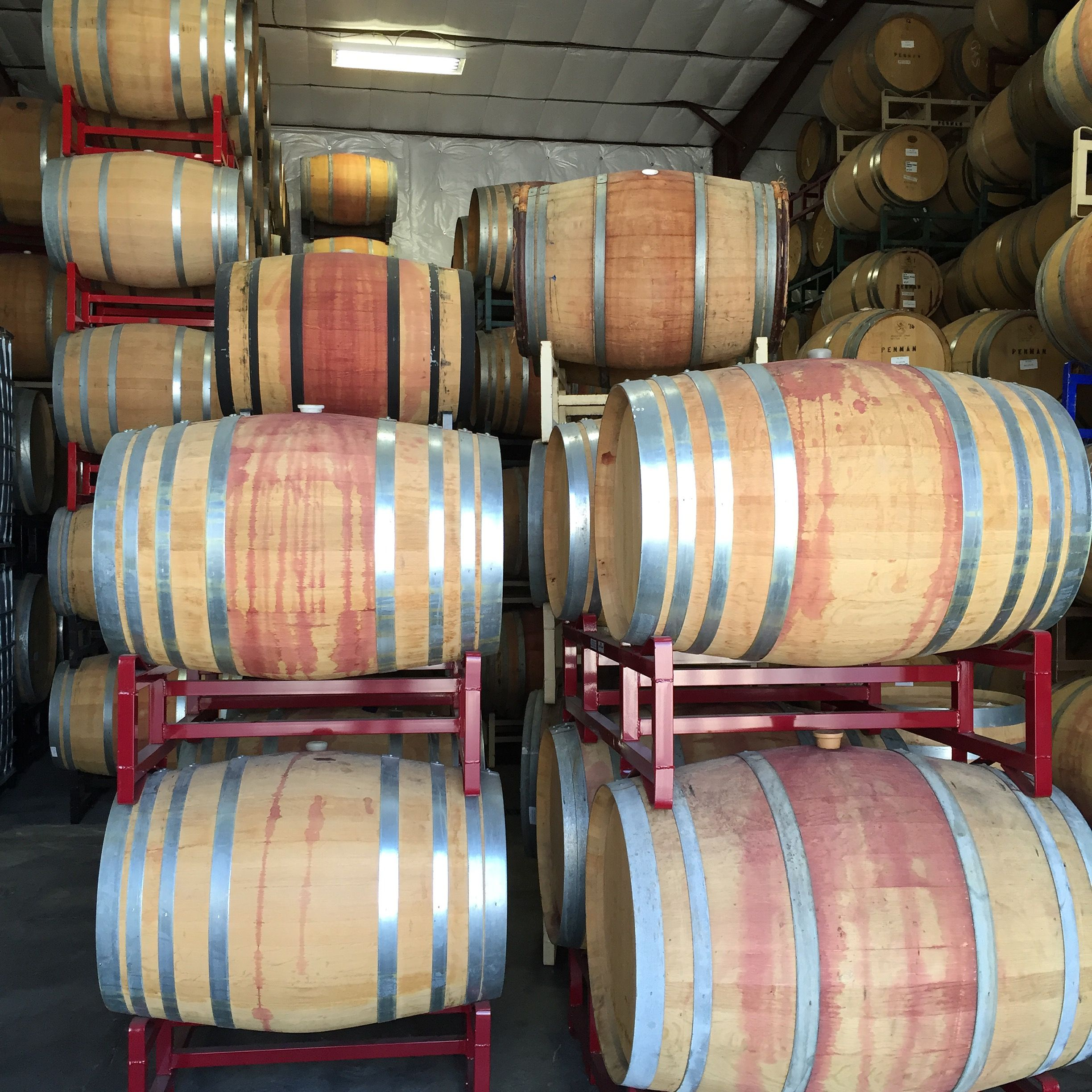 Wine barrels (not all ours) sign up for our newsletter at http://eepurl.com/baf2cX