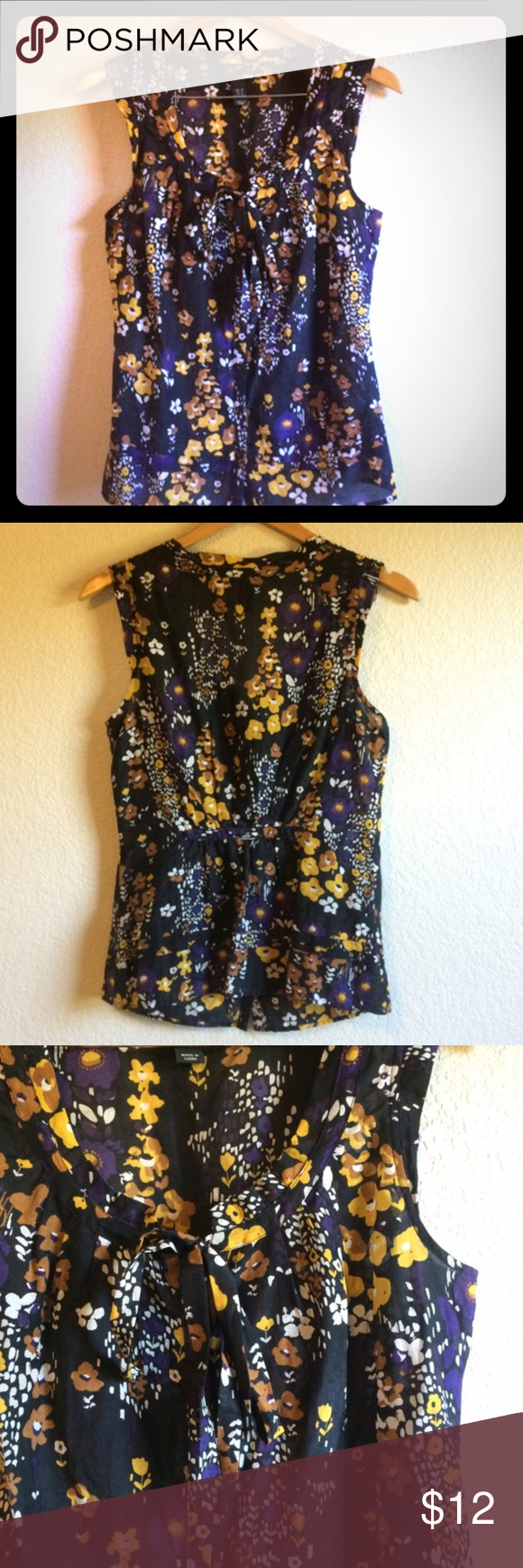 H&M Sheer Floral Sleeveless Blouse Lightweight, semi-sheer material in a vintage-inspired floral pattern. Top ties at front. Runs a bit small (more like a 6). H&M Tops Blouses
