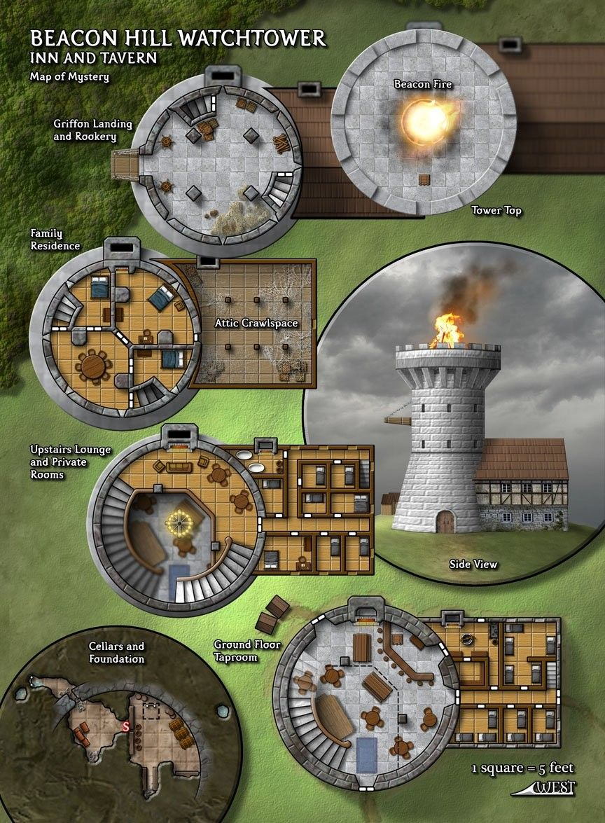 Beacon Hill Watchtower Tabletop Rpg Maps Dungeons And Dragons Homebrew Fantasy Map