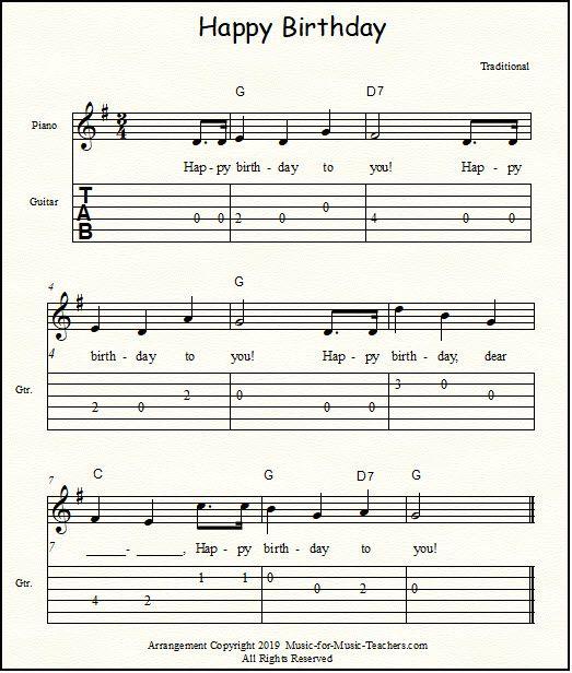 Happy Birthday Free Sheet Music For Guitar, Piano, & Lead