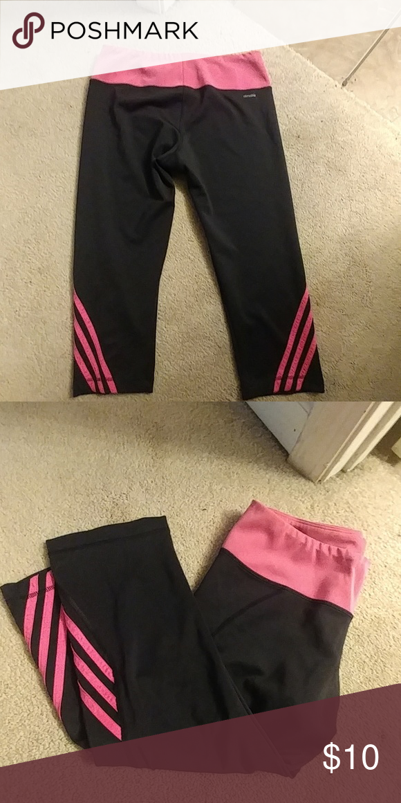 540cb5128ce Workout leggings Adidas capri workout pants. They are black and bright pink  adidas Pants Ankle & Cropped