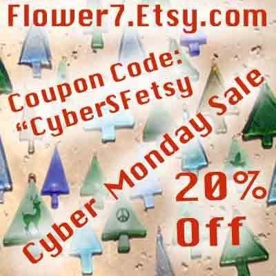#Flower7 #CyberMonday Sale - Shop handmade for the holidays - use code CYBERSFETSY  etsy.com #Glass #UpCycle #Green