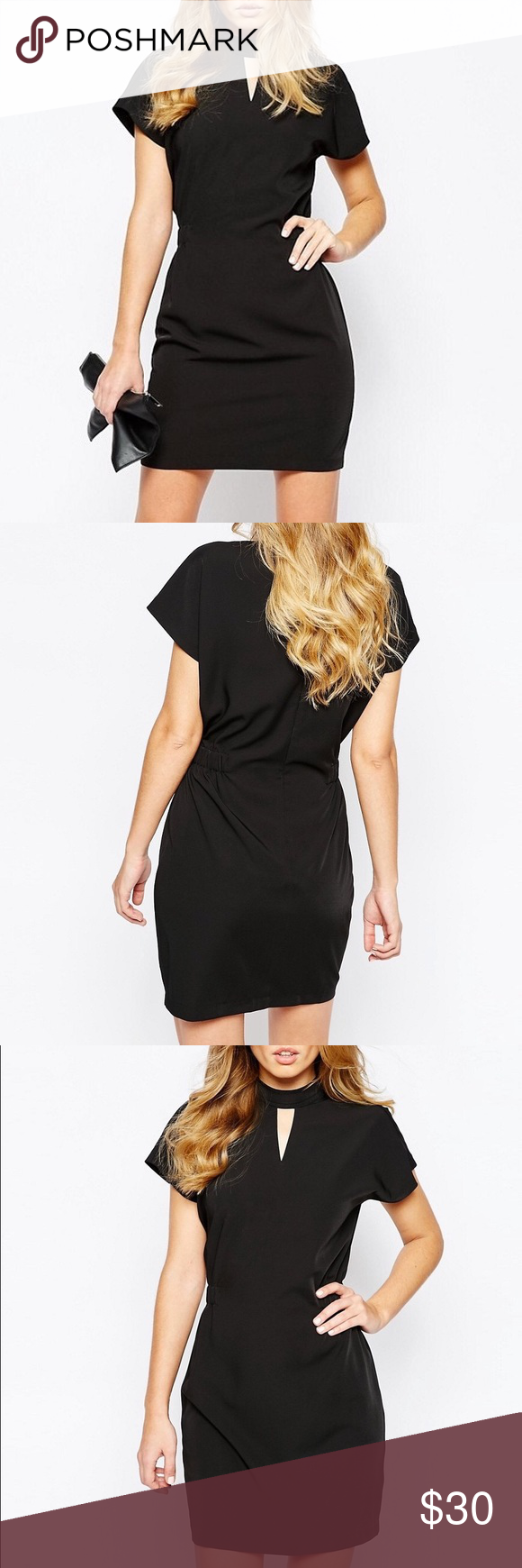 Y.A.S Dress with High Neck Gorgeous black dress with high neckline and front cut-detail. Brand new with tags. UK size 6, equivalent to a US size 2. ASOS Dresses