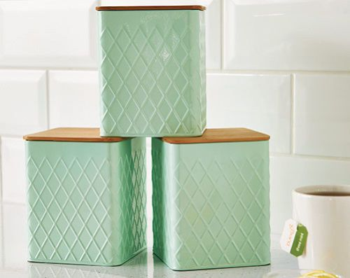 Set Of 3 Pastel Mint Kitchen Canisters With Bamboo Lids Tea Coffee Sugar New
