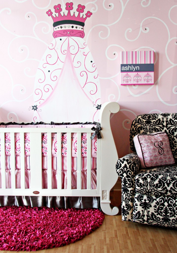 Love the damask glider with the Caden Lane Ashlyn bedding from their Luxe Collection. Pink & Grey nursery decor...