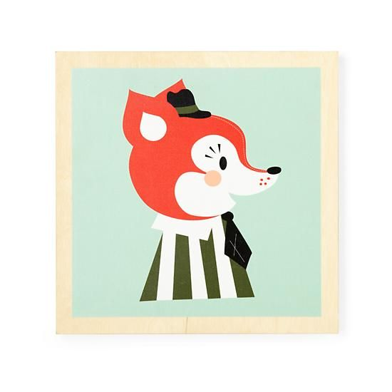 The Land of Nod | Kids' Room Décor: Fox Wooden Frame Wall Art in Framed Wall Art