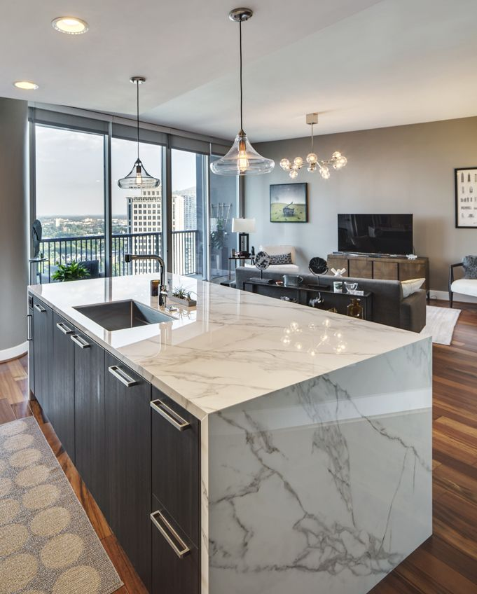 Waterfall Kitchen Island Inspiration: Trendy Waterfall Countertop Completed With Neolith