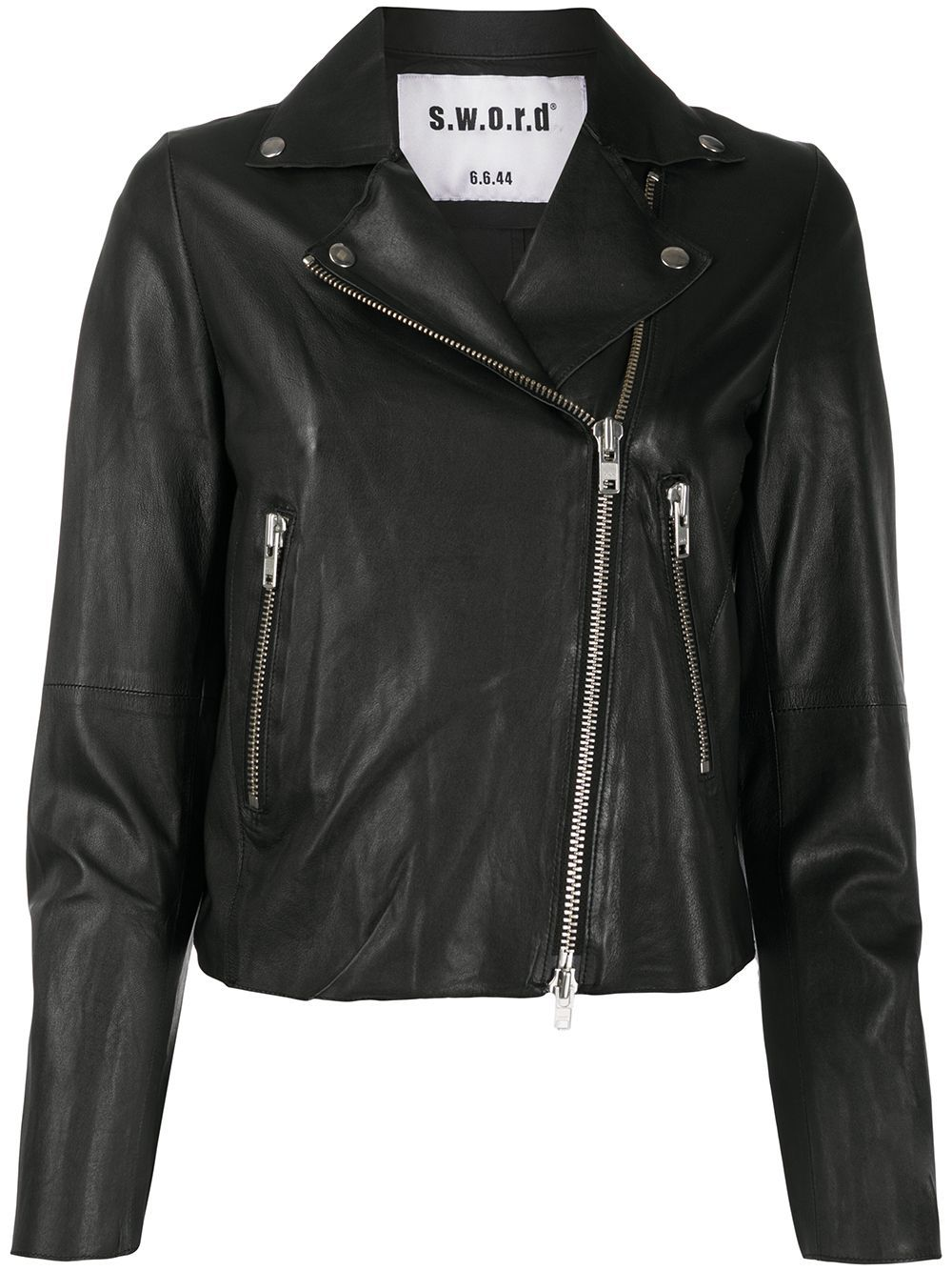 Black lamb skin cropped fitted biker jacket from S.W.O.R.D 6.6.44 featuring an off-centre front zip fastening, long sleeves, a slim fit, a cropped length and silver-tone hardware.