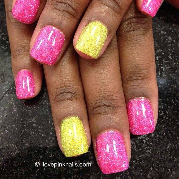 Hot Pink And Yellow Rock Star Nails