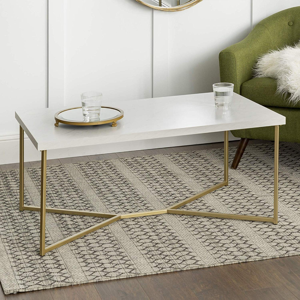 Amazon Com We Furniture Short Rectangular Coffee Table Faux White Marble Top Gold Base Kitchen Dining