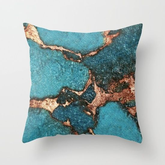 Aqua Amp Gold Gemstone Throw Pillow By Monika Strigel 20