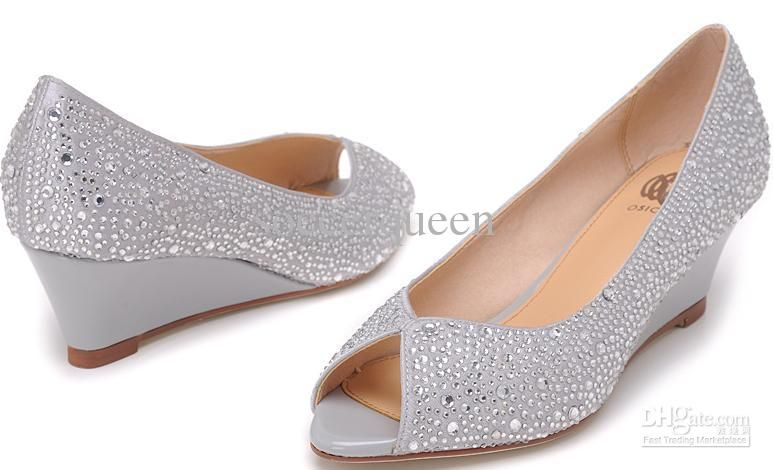 7b1227cd900c Osionce Peep Toe Wedge Dress Shoes For Womens Silver Blingbling ...