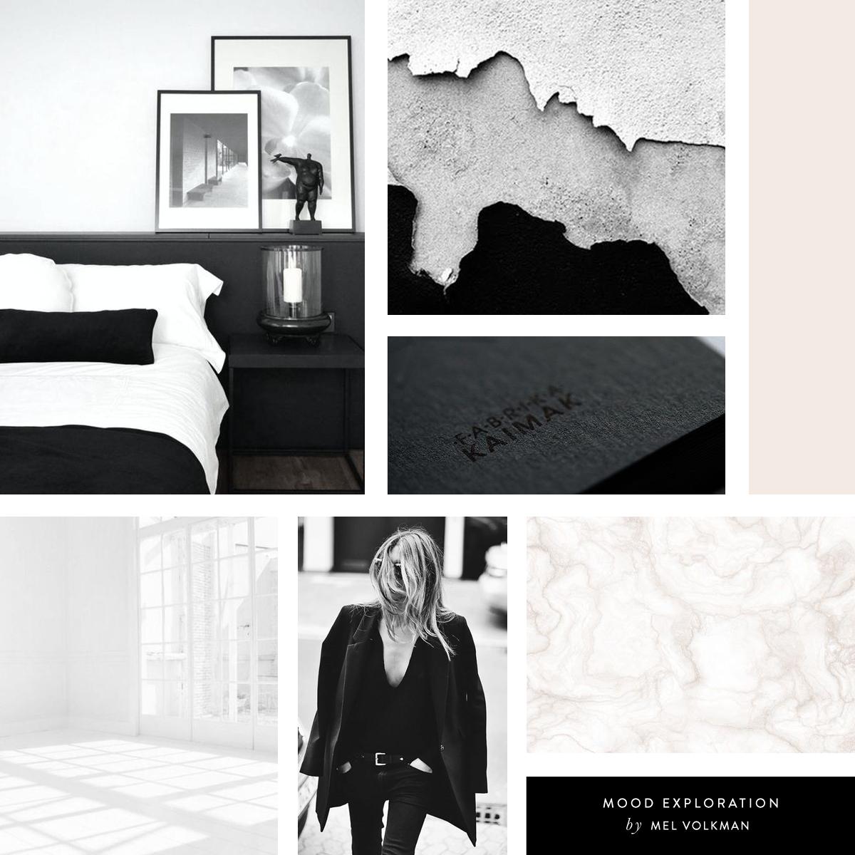 Mel Volkman Interior Design Brand Modern Brand Board Mood Board