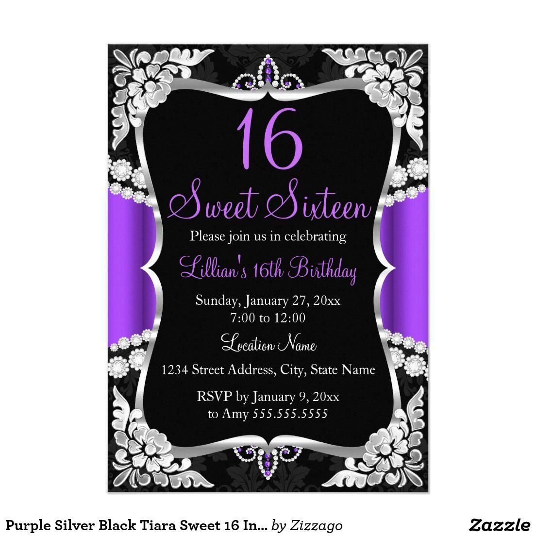 purple silver black tiara sweet 16