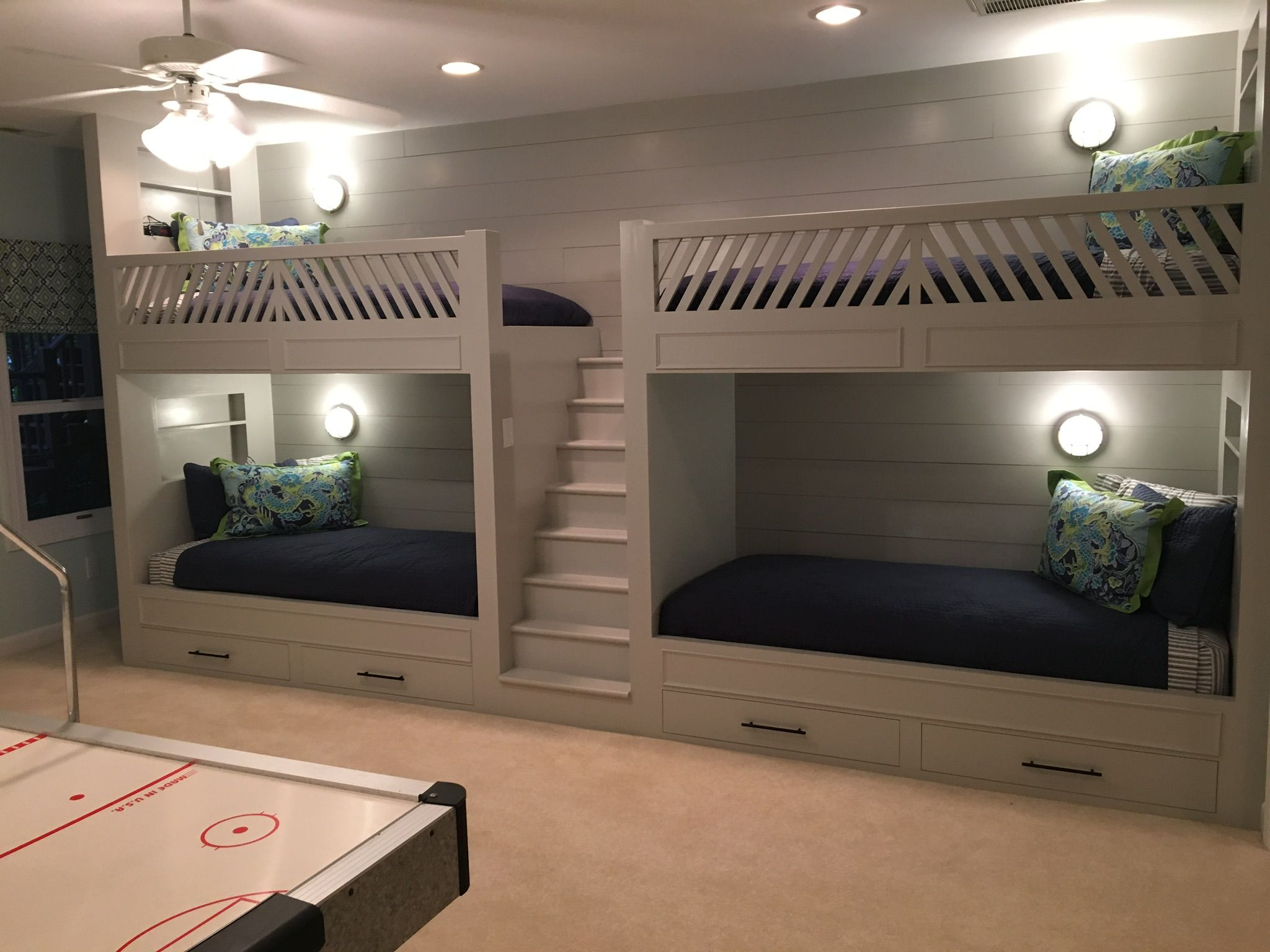 Quadruple bunk beds with drawers, stairs and niches with