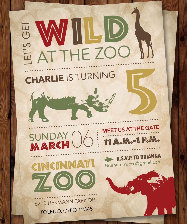 Wild Birthday Invitation/Jungle Invitation/Safari Invitation/Zoo ...