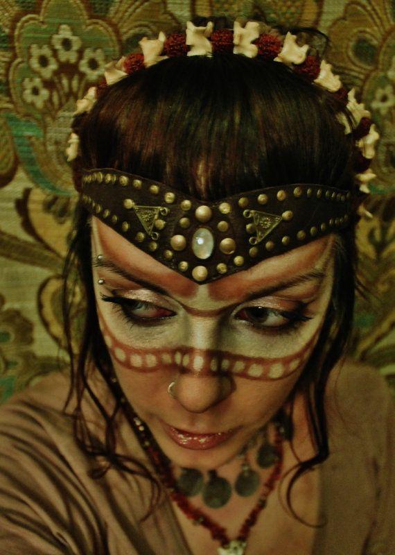 The Viking Warriors Headband Viking Pirate Style Leather Tiara With Brass Studs And Moonstone Viking Krijger Fotoshoot Ideeen Fotoshoot