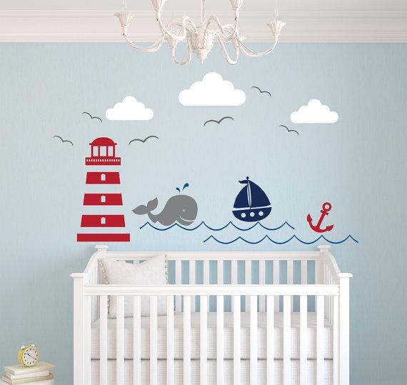 Nautical Theme Wall Decal Nursery Wall Decal Whale Wall Decal