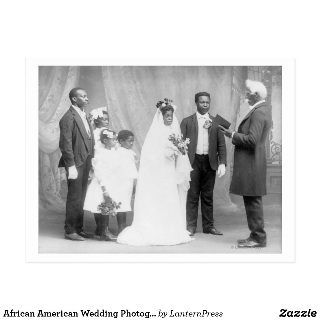 African american wedding photograph postcard vintage pinterest