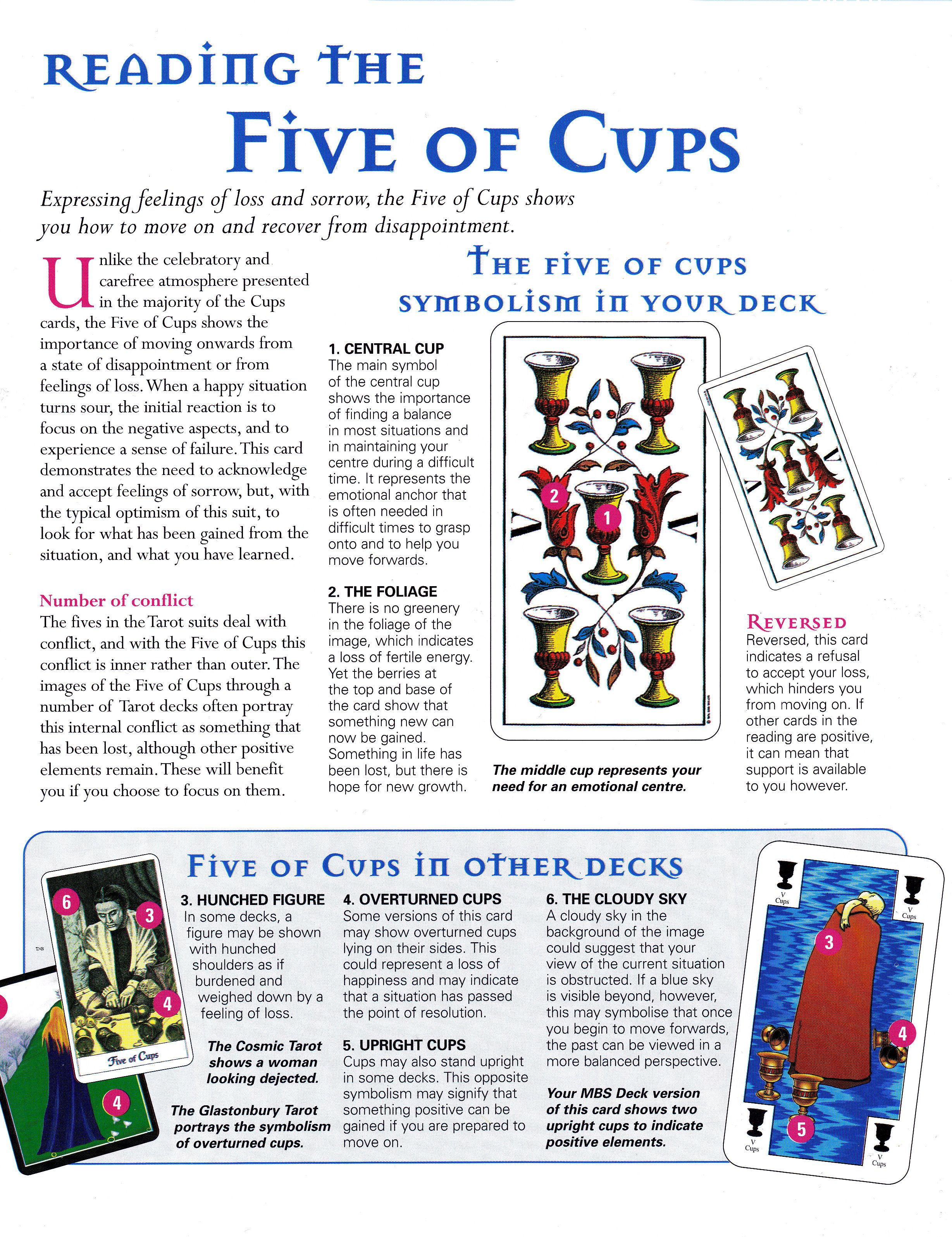 Photo of Reading the five of cups