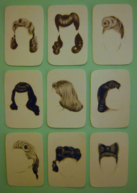 Vintage / retro hairstyle cards <3