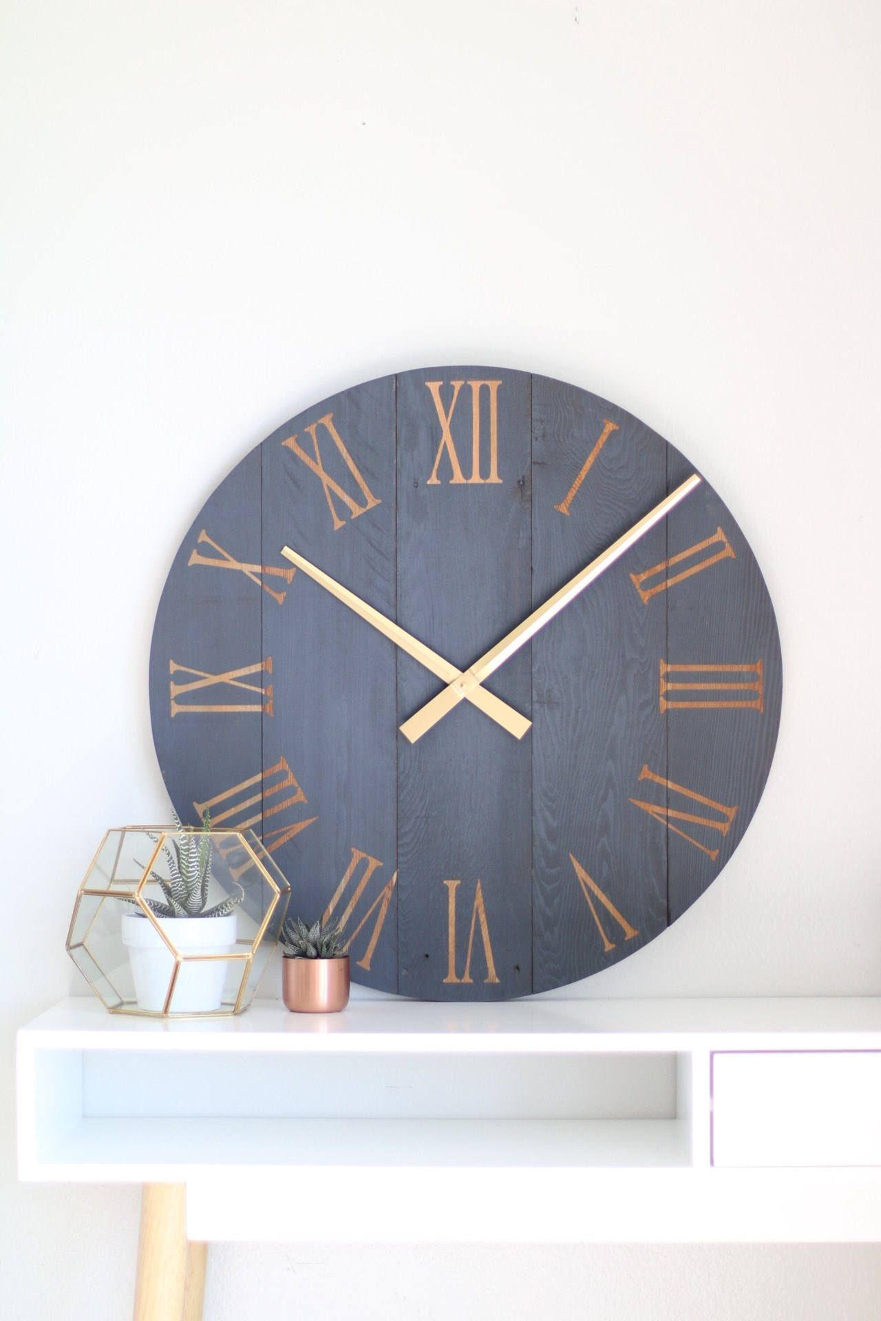 Large Wall Clock Navy Gold Mid Century Modern Modern Home