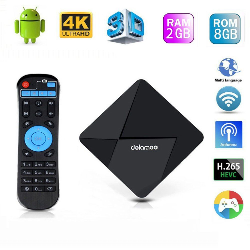 Edal 2017 [New Series]DOLAMEE D5 Android TV Box Rockchip RK3229 Quad-core Cortex A7 1.5GHz 32bit CPU with 2G DDR3 RAM/8G ROM Support 4K Ultra HD DLNA Miracast Airplay