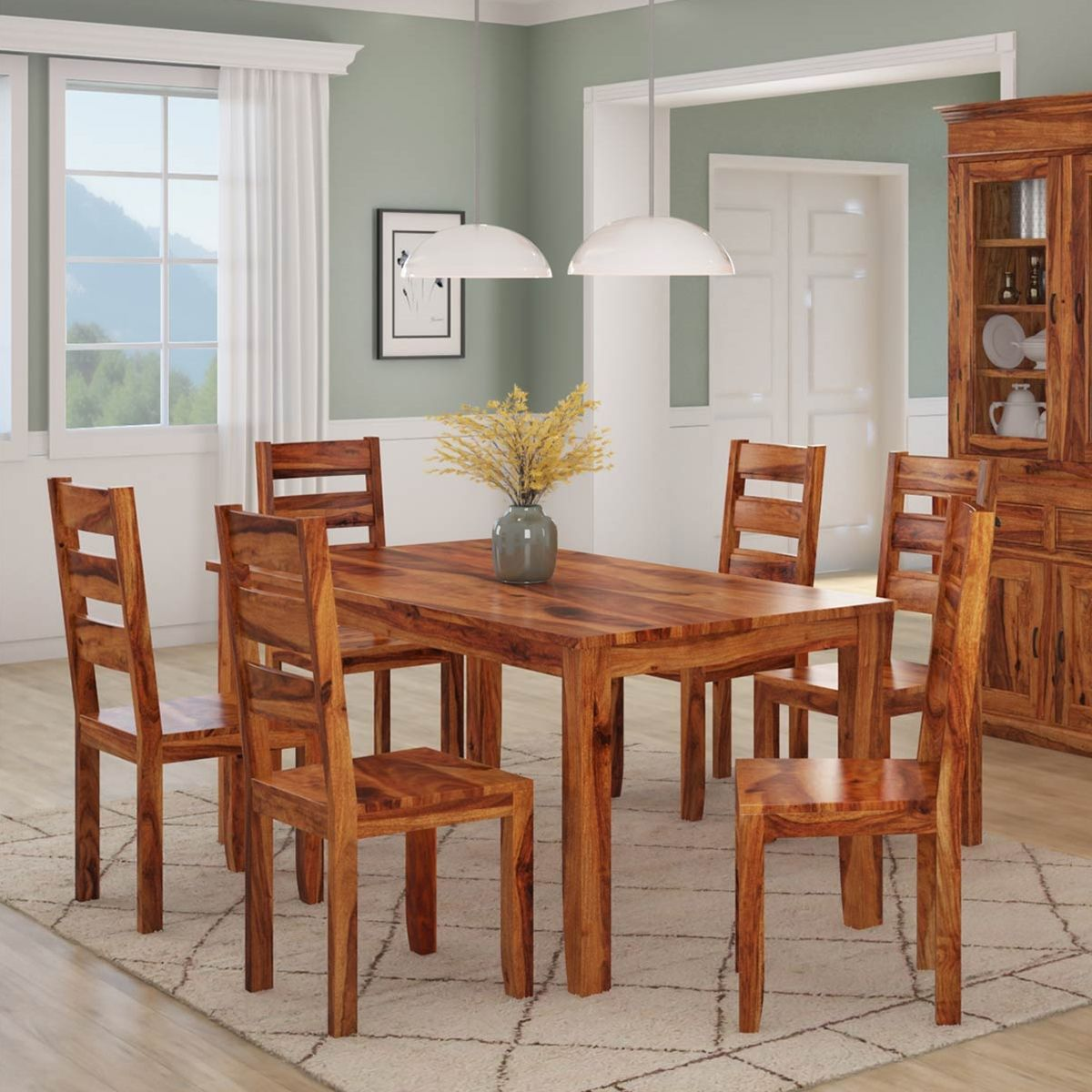 Cariboo Contemporary Rustic Solid Wood Dining Table And Chair Set Solid Wood Dining Table Rustic Solid Wood Dining Table Simple Dining Table Solid wood dining room chairs
