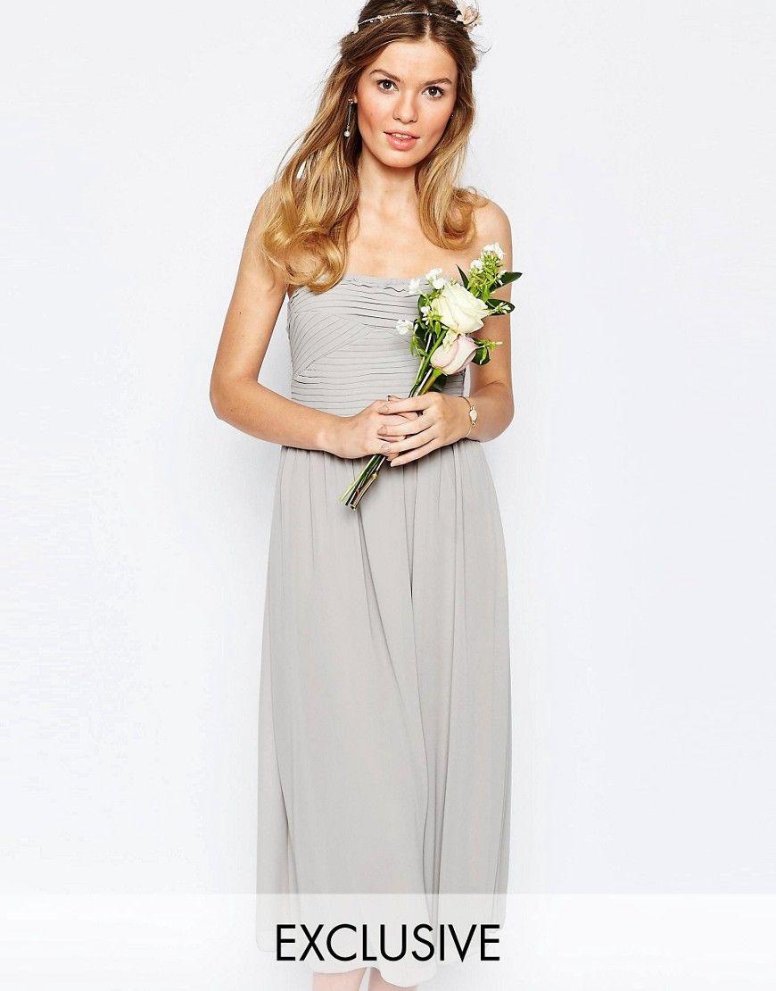 Vila Bandeau Midi Dress - Grey | Women dress sale, Dresses ...