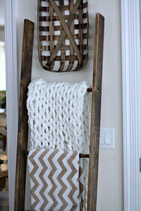 Easy DIY Blanket Ladder | Love of Home