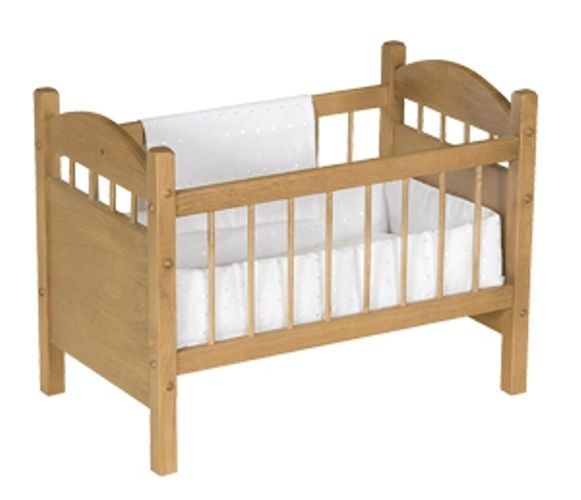 Reborn Baby Doll Crib Bed Toy Furniture Solid Wood Nursery Preschool  Learning #Amish