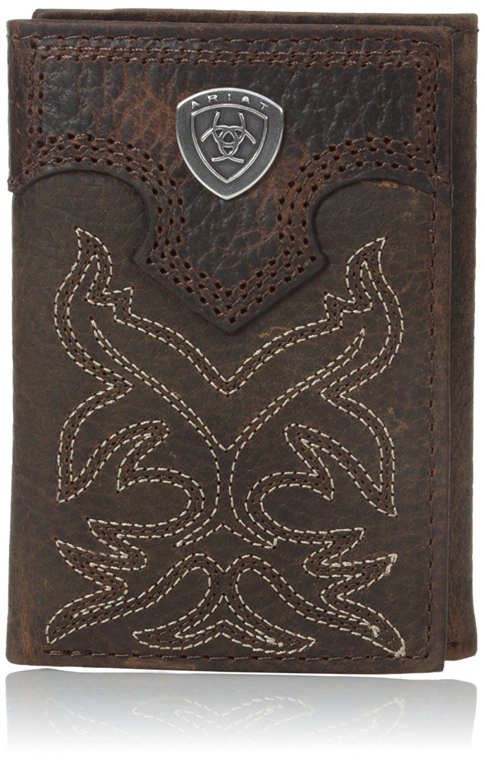 Ariat Mens Floral Concho Embroidery Tri-Fold Black
