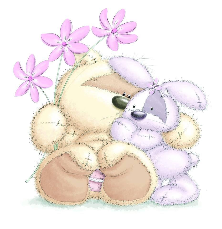 Зайчик с медвежонком картинки