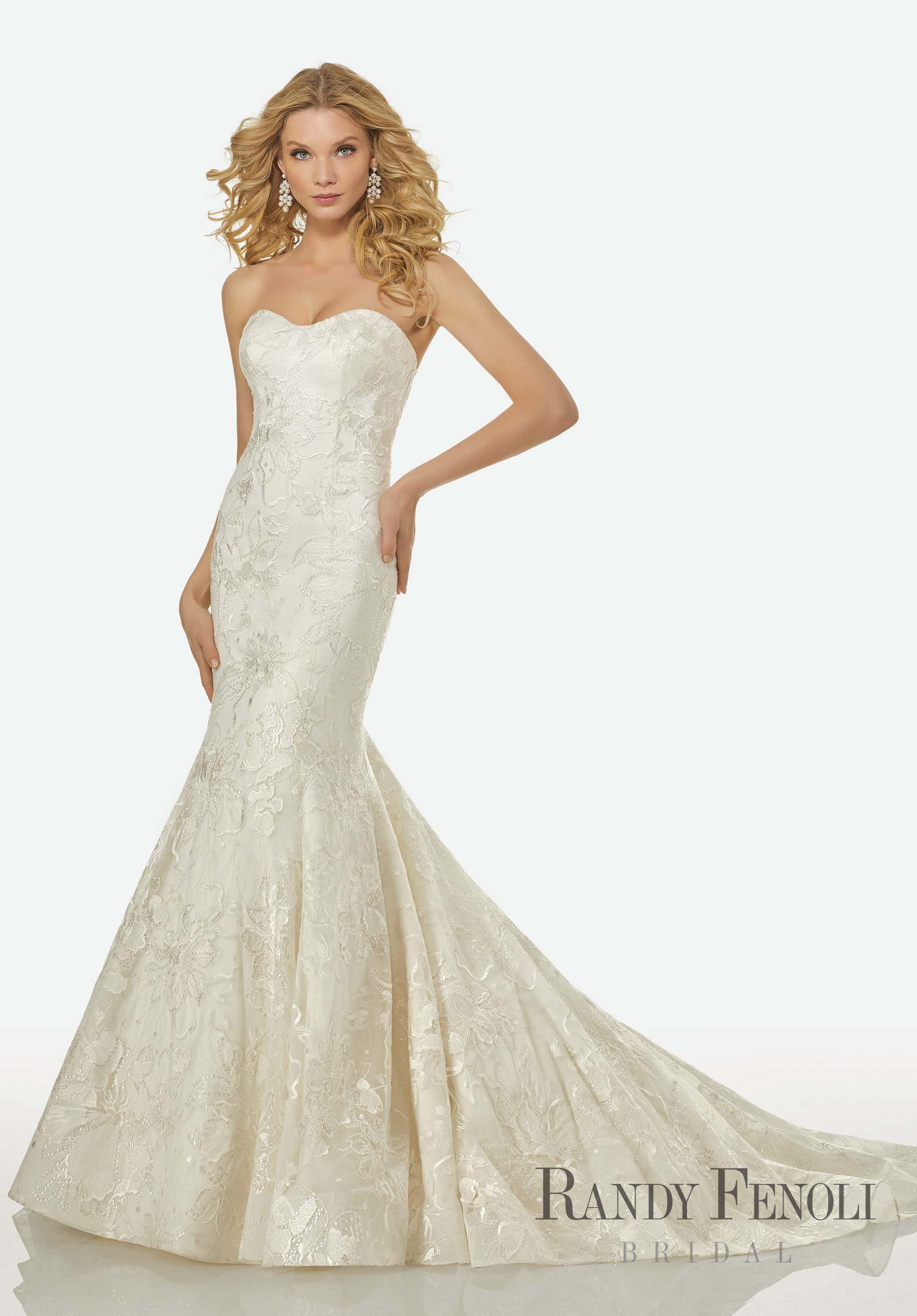 d7f21f9c564ed Randy Fenoli Bridal, Iris Wedding Dress | Style 3415. Strapless Mermaid Gown  with Large Floral Patterned, Beaded Lace. Modest Sweetheart Neckline.