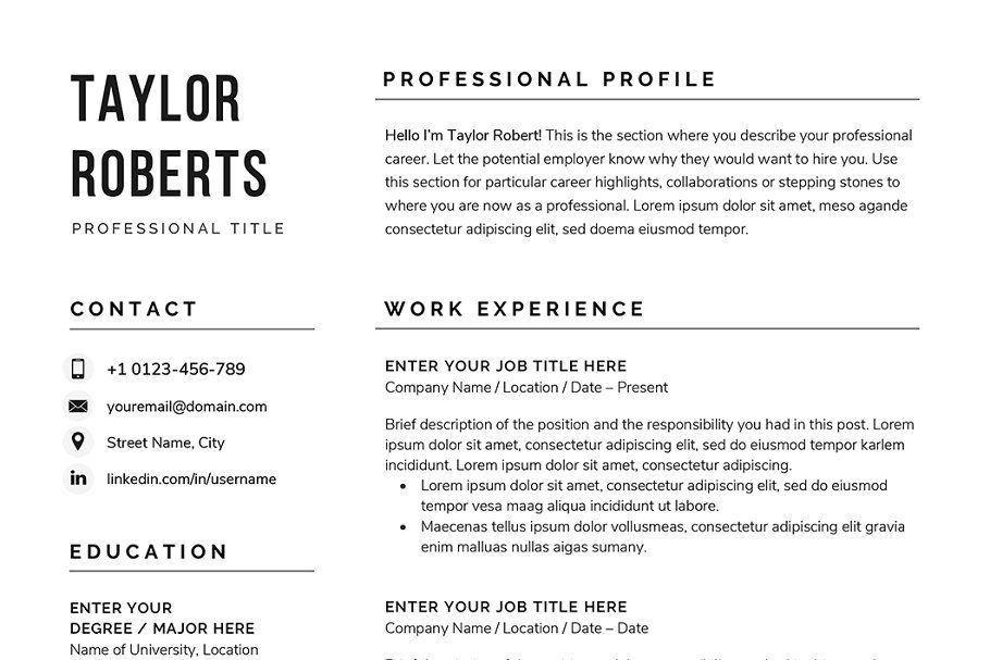 Resume Cv The Taylor Resume Design Free Resume Design Unique Resume Template