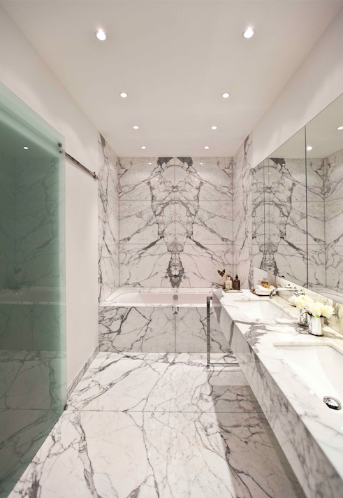 Bathroom design with marble for a residential project. #bathroom ...