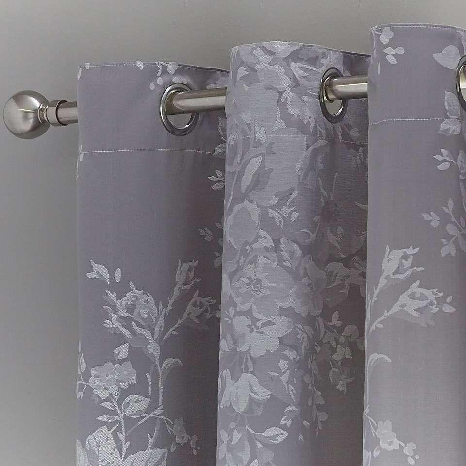 Laura Jacquard Grey Thermal Eyelet Curtains Dunelm Ready Made Eyelet Curtains Curtains Dunelm Layered Curtains