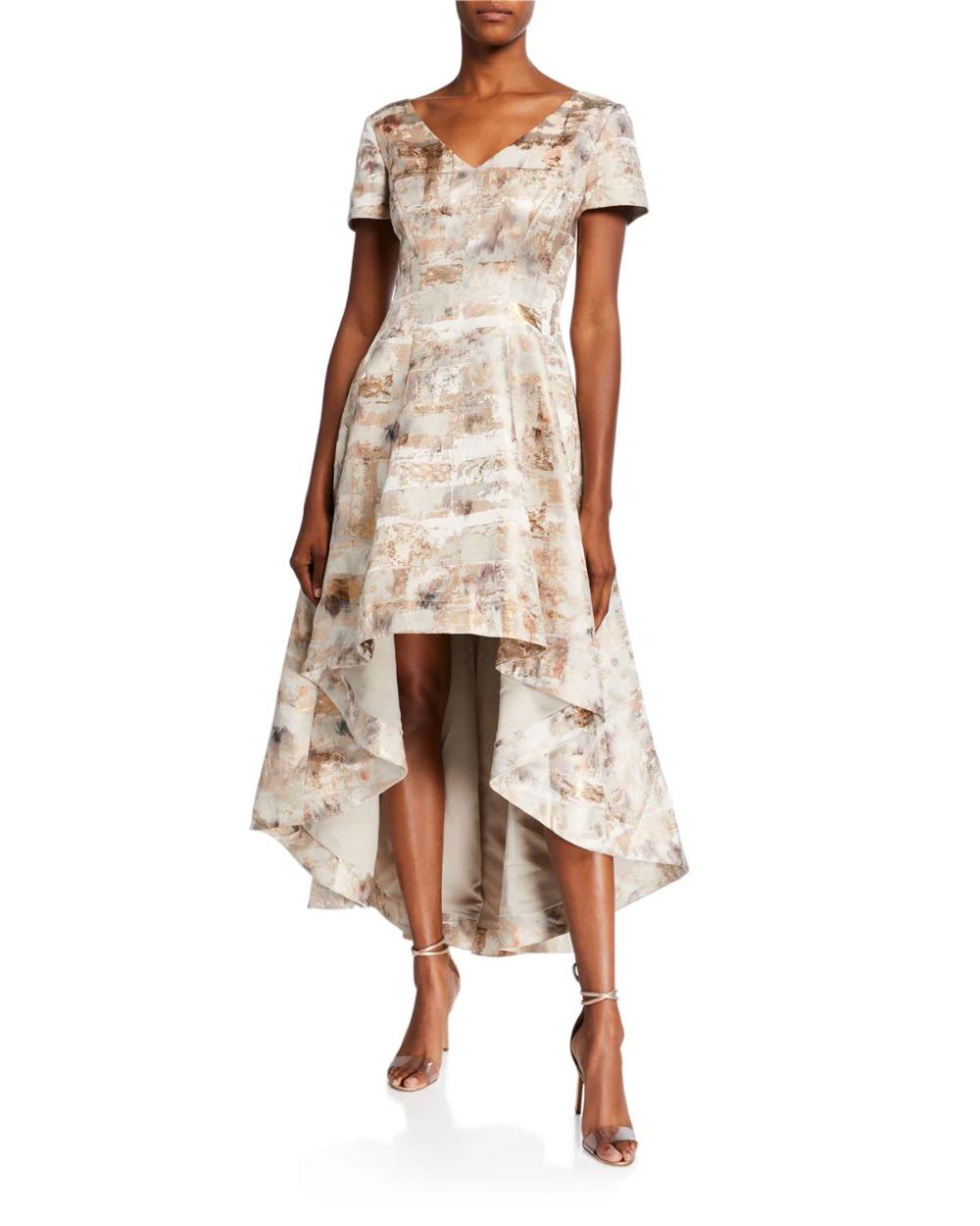 Shani Short Sleeve High Low Jacquard Dress Jacquard Dress Cocktail Dress Lace Embroidered Cocktail Dress [ 1250 x 1000 Pixel ]