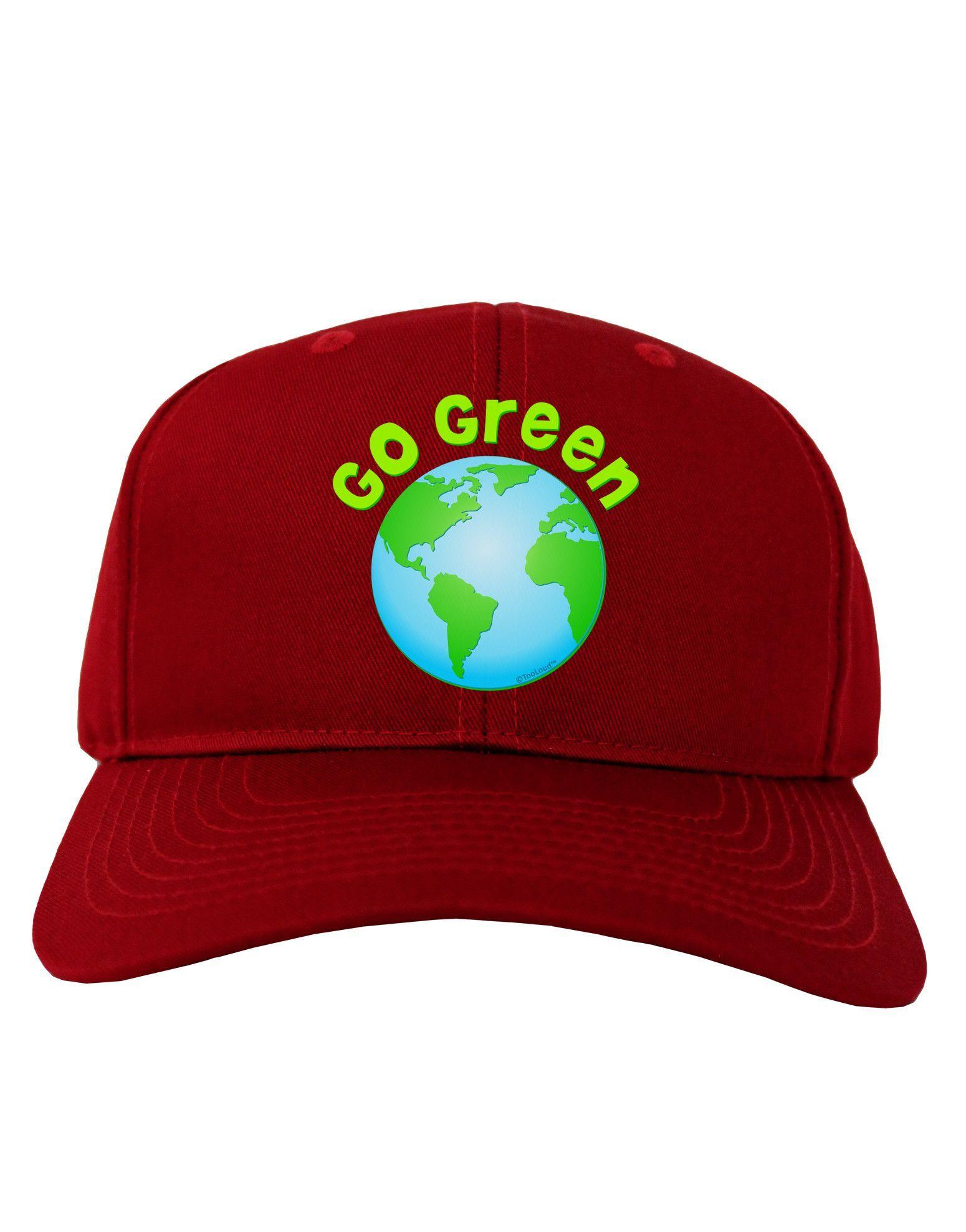 TooLoud Go Green - Planet Earth Adult Dark Baseball Cap Hat